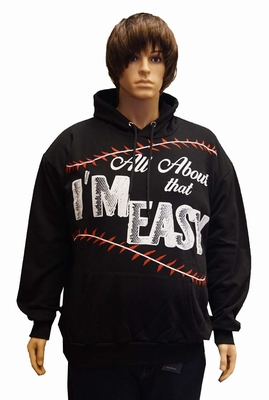 """Sweater met Capuchon  """" Au about that i'm easy """" Zwart"""