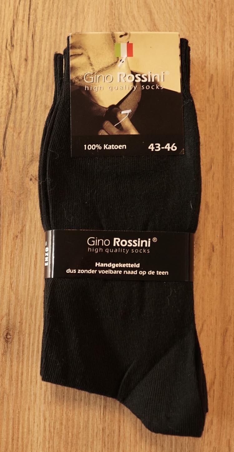 "4 paar heren sokken  "" Gino Rosini ""   Zwart """