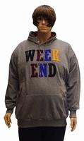 """Sweater met Capuchon  """" Weekend """"  Licht grijs"""
