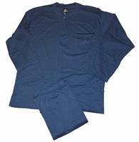 """Heren pyjama  """" Maxfort """"  Ronde hals met knoopjes    Blauw"""