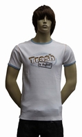 "T-shirt met kort mouwen "" Trash by Buffoon ""  Wit / blauw"
