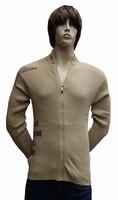 """Gebreide vest  """" Donadoni """"  Donker beige met print"""