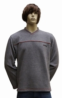 "V-hals fleece sweater "" Licht grijs """